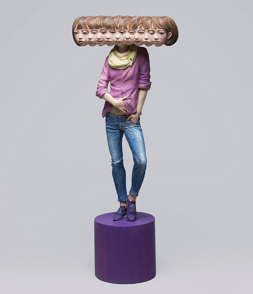 yoshitoshi kanemaki wooden glitch sculptures designboom 010