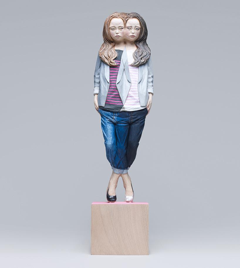 yoshitoshi kanemaki wooden glitch sculptures designboom 016