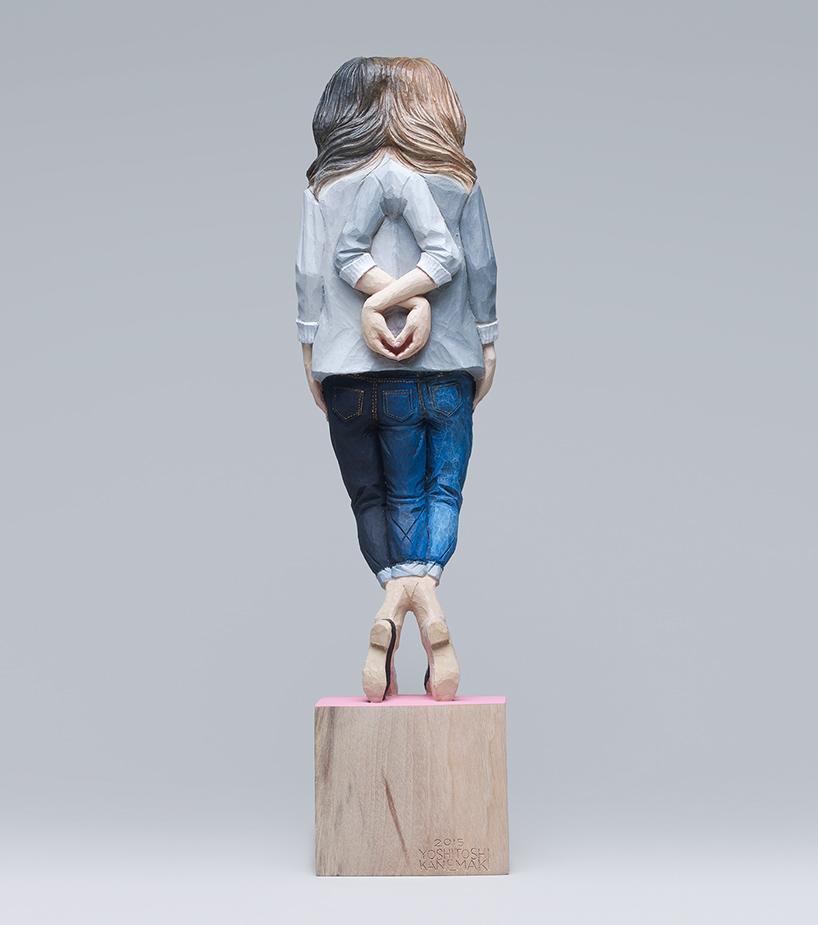 yoshitoshi kanemaki wooden glitch sculptures designboom 017