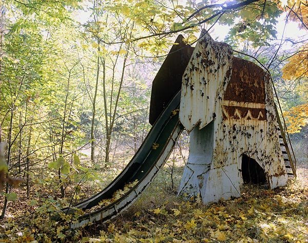 an abandoned elephant slide inside the chernobyl exclusion zone photograph by david mcmillan 32083