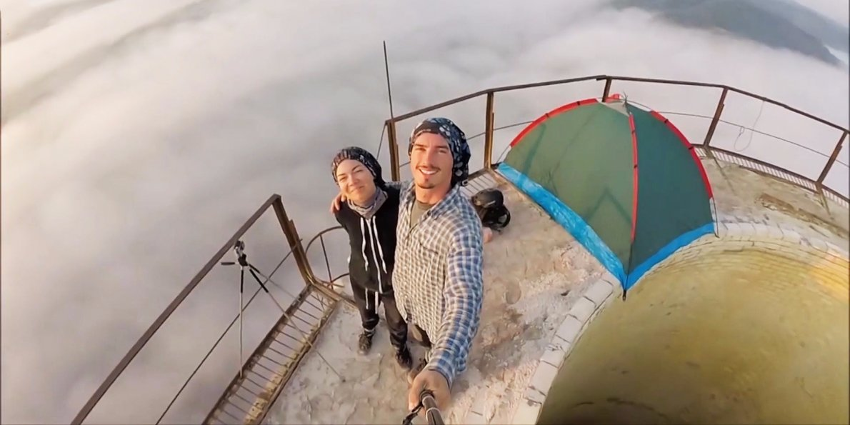 2 campers pitched their tent on top of an 800 foot chimney in romania
