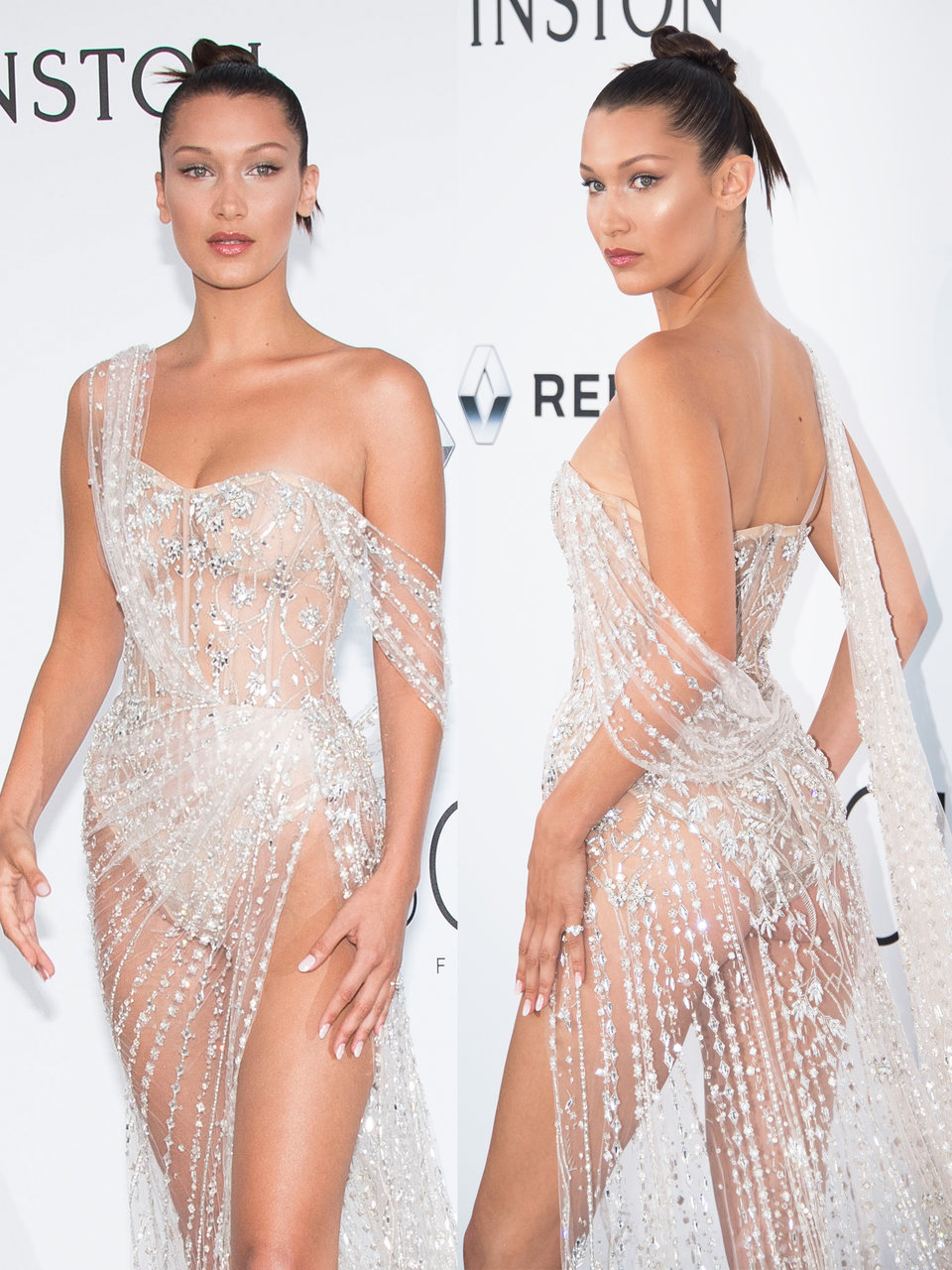 bella hadid turned heads at the 2017 amfar charity gala during the cannes international film festival in this sheer crystal gown