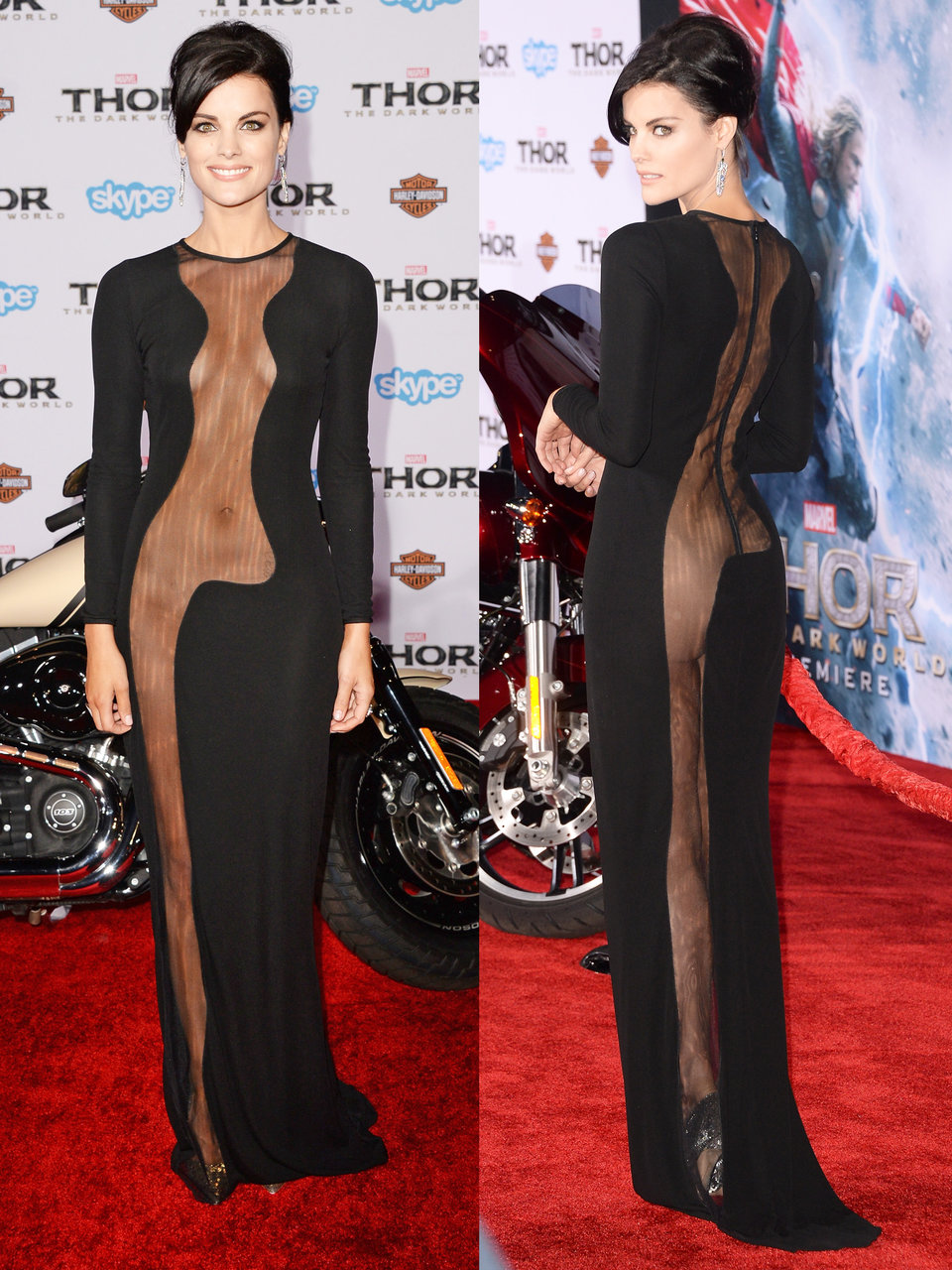 besides high slits mesh cutouts are another trend jaimie alexander stunned in this dress at the 2013