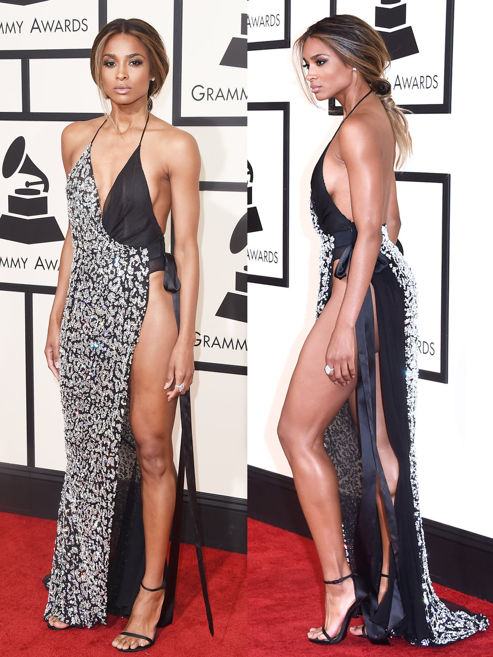 ciara also wore a dress with an extremely high slit up one side for the 2016 grammy awards
