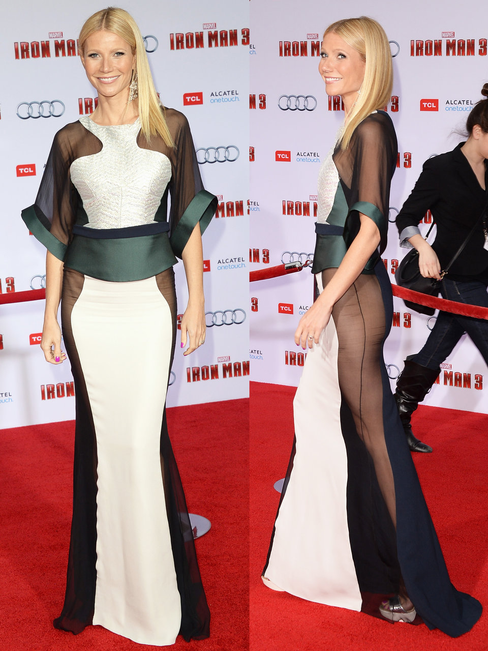gwyneth paltrow embraced the sheer paneled style at the 2013 premiere of iron man 3