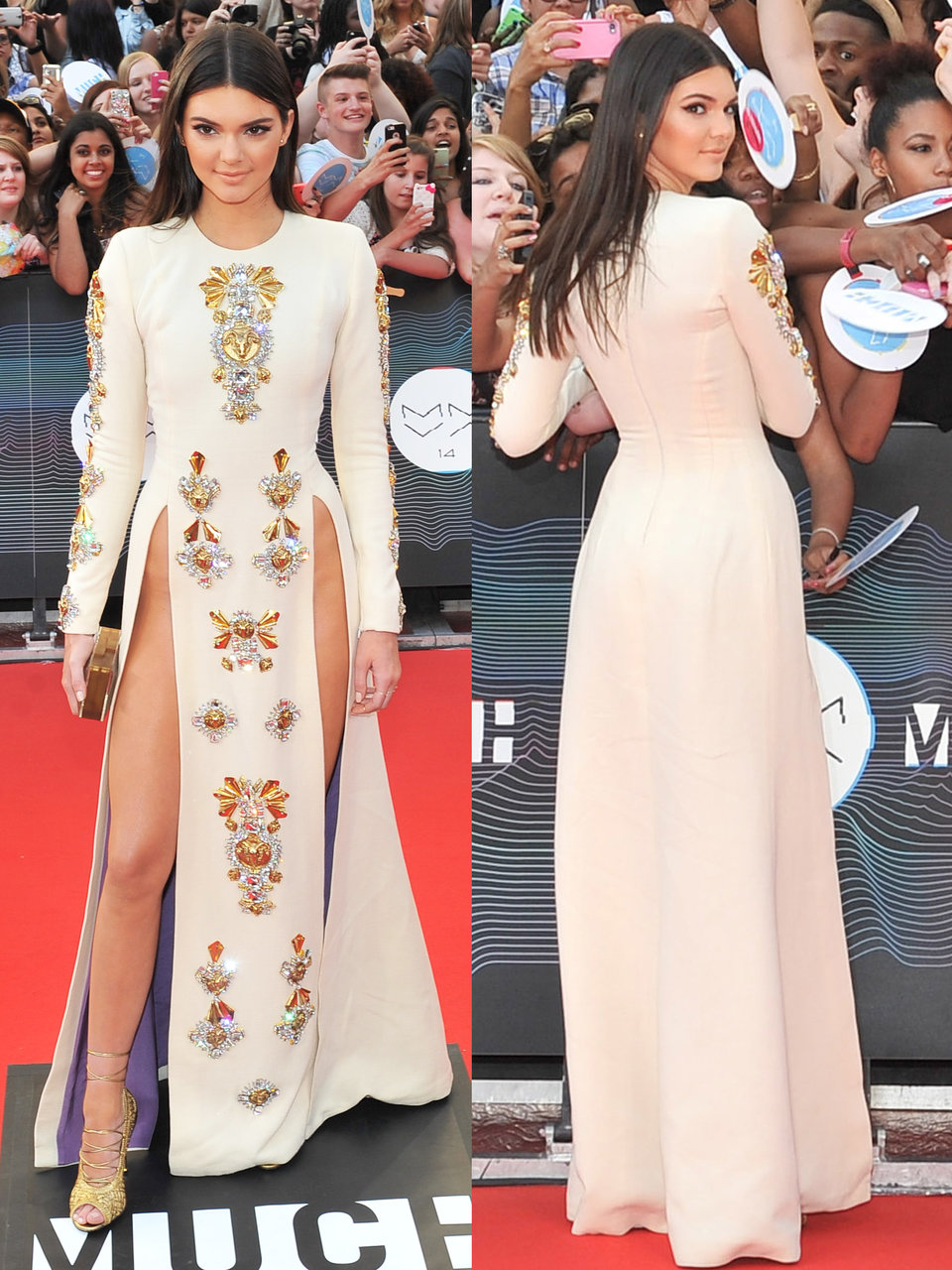 kendall has worn other daring dresses too she had to move with caution when she wore this double slitted dress to the 2015 much music video awards