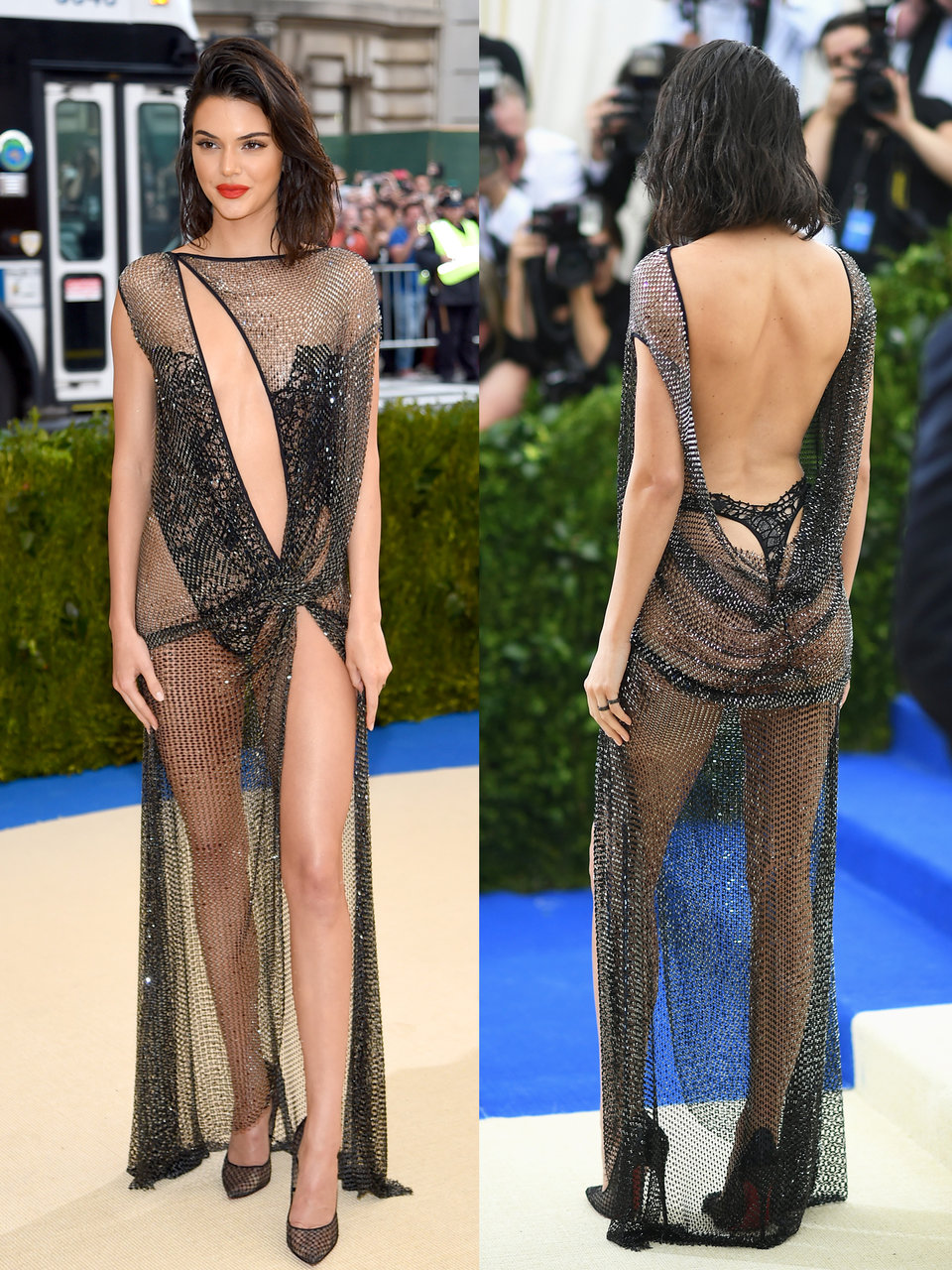 kendall jenner went with a metallic mesh gown for the 2017 met gala