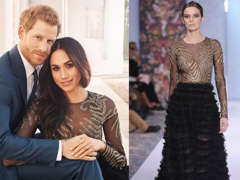 meghan markle wore a surprisingly revealing dress with a sheer top for her official engagement photos with prince harry in december 2017