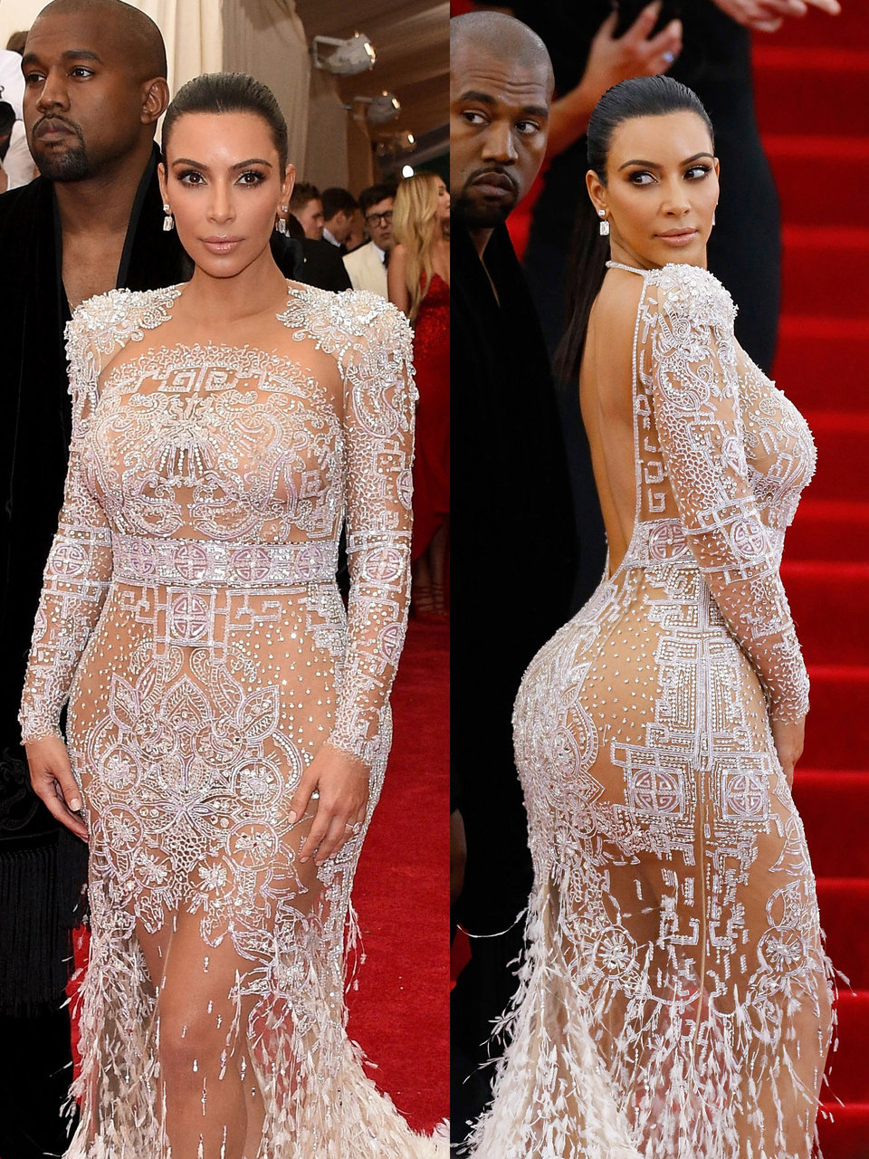 that same evening kim kardashian west wore a glittering silver gown that left little to the imagination