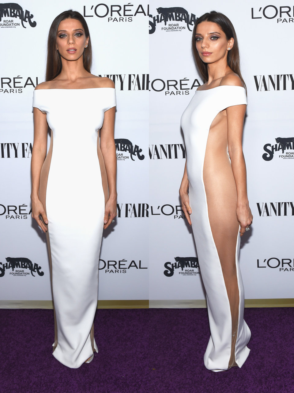 the most recent celeb to tackle the sheer sided gown was westworld star angela sarafyan