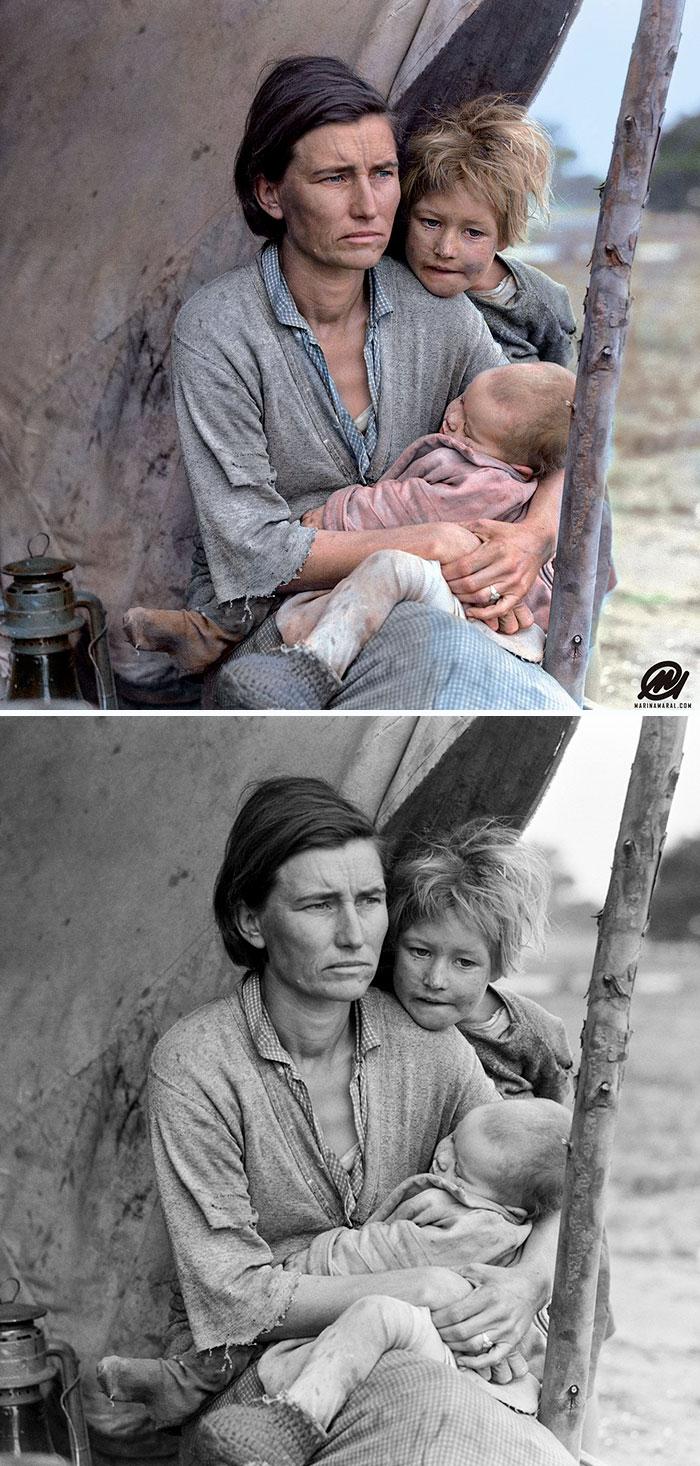 colorized auschwitz girl czeslava kwoka black white historic photos marina amaral 5aaa41461f3b1 700