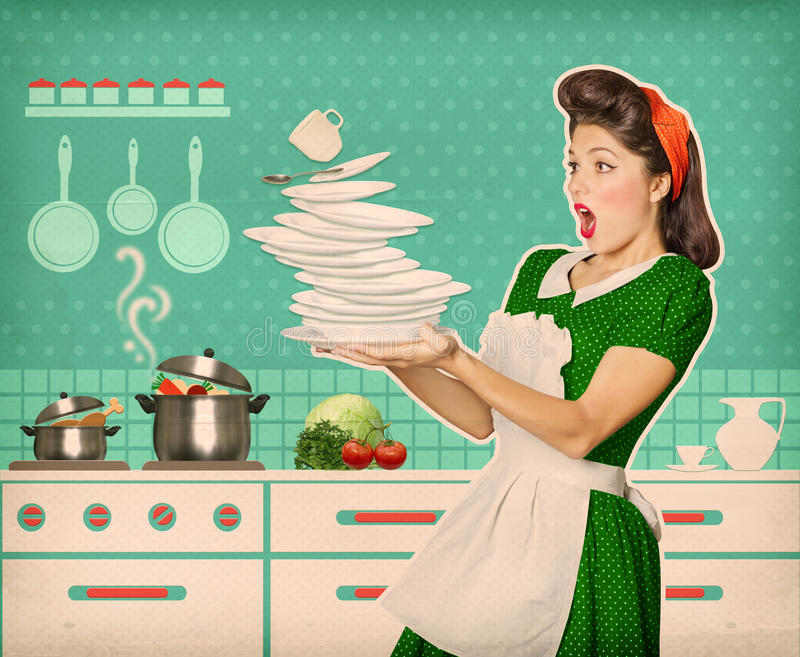 clumsy attractive woman falling plates dishes her kitchen room 62429918