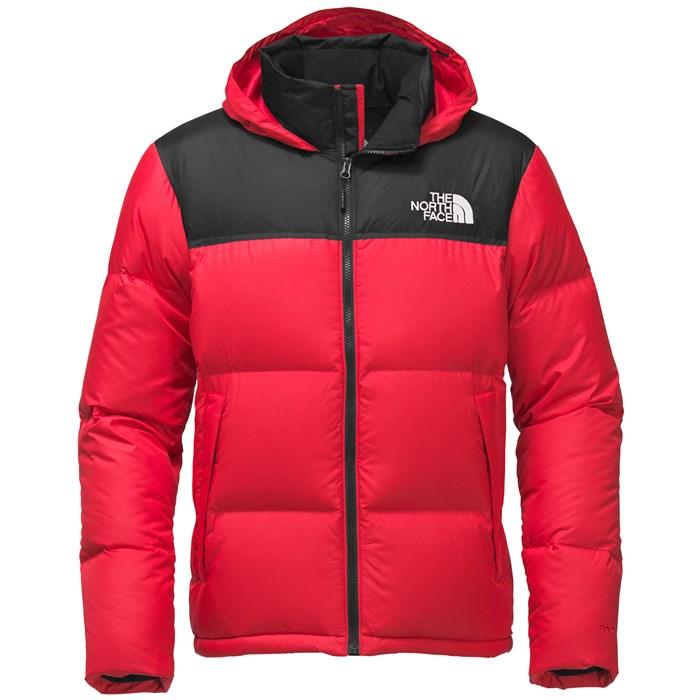 the north face novelty nuptse jacket tnf red tnf black