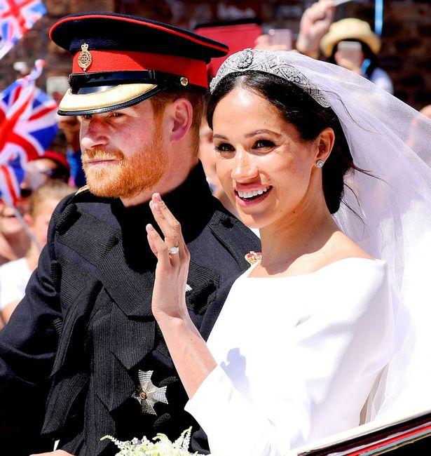 prince harry and american actress meghan markle at thwie wedding ceremony in windsor castle