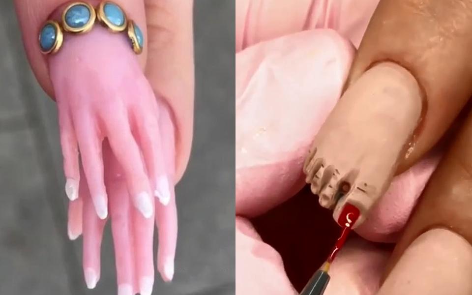 Làm móng hình bàn chân, bàn tay - trend làm nail mới gây tranh cãi vì quá đáng sợ