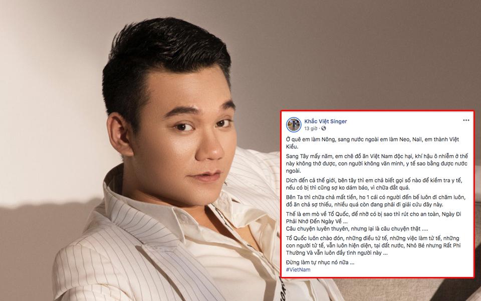 Khắc Việt đăng đàn 'đá xéo' Việt Kiều về nước: 'Đừng tự làm nhục nữa'
