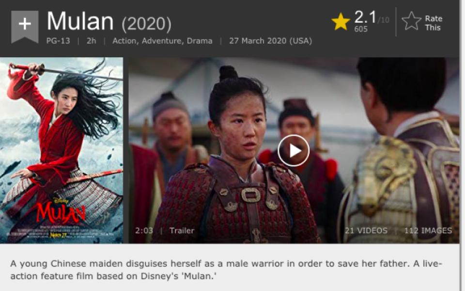 'Mulan' bị chấm điểm thấp: IMDB phải xóa tất cả đánh giá xấu từ người ủng hộ biểu tình Hong Kong