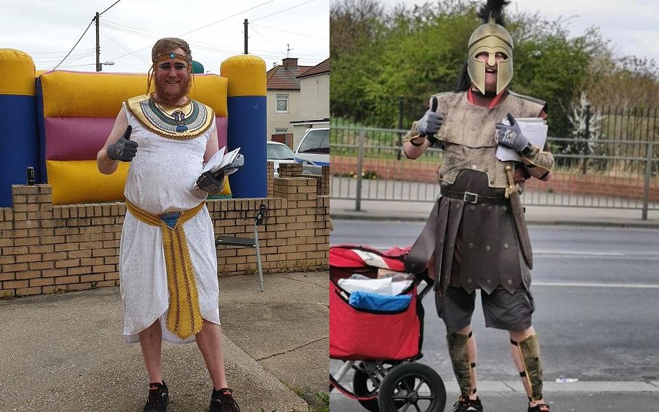 Nhân viên bưu điện diện trang phục hài hước đi làm để giúp mọi người yêu đời hơn trong mùa Covid-19