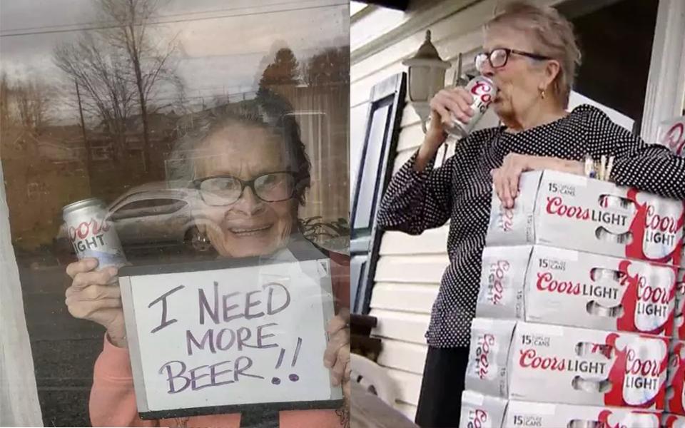 Mùa dịch không mua được bia, cụ bà 93 tuổi cầm bảng hỏi xin hàng xóm và có hẳn 150 lon ship đến tận nhà
