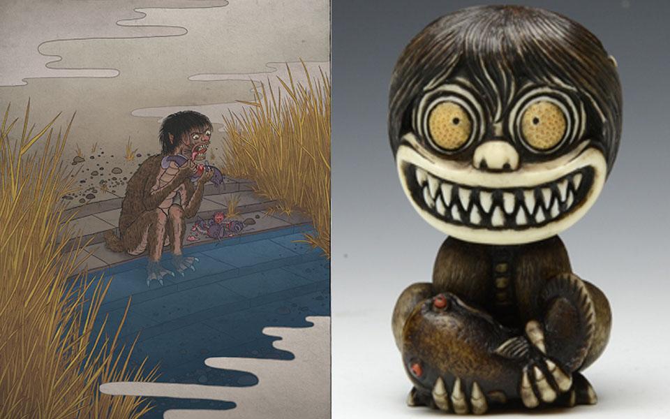 Tiểu sư bên bờ sông Gangi Kozō: Loài yêu quái họ hàng của Kappa, hay mọc lông và thích ăn cá