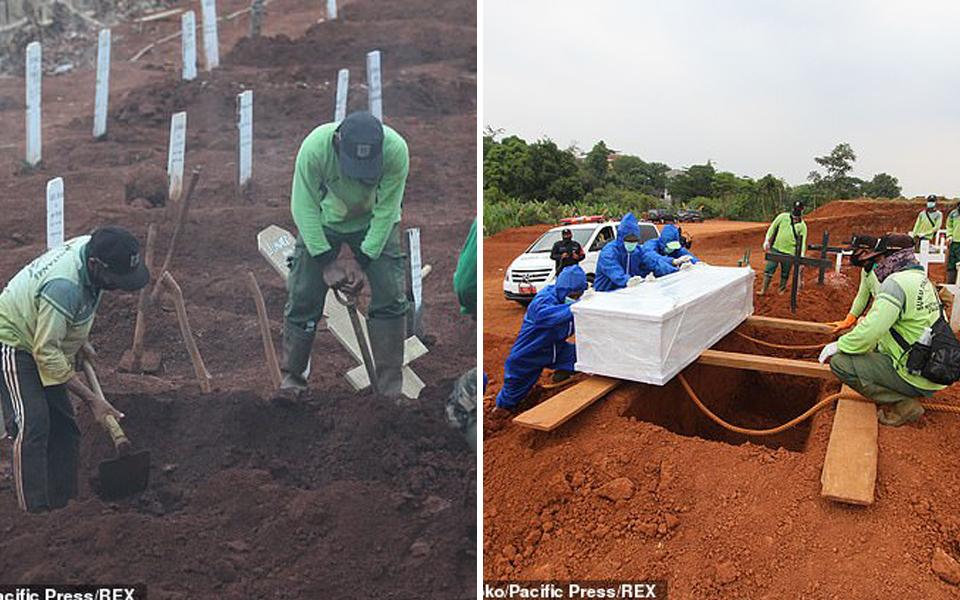 Người không đeo khẩu trang tại Indonesia phải đào mộ cho các nạn nhân qua đời vì Covid-19