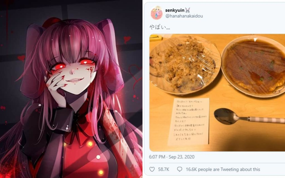 x Cô gái Nhật lẻn vào nhà nấu đồ ngon cho bạn trai cũ và để lại tờ note khiến dân mạng rùng mình