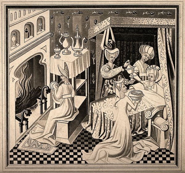 the birth of saint edmund he is being nursed by a midwife w wellcome v0014976