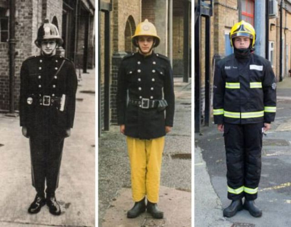3 generations of firefighters from left grandfather colin gunn in 1966 father nick gunn in 1988 and son owen gunn in 2015