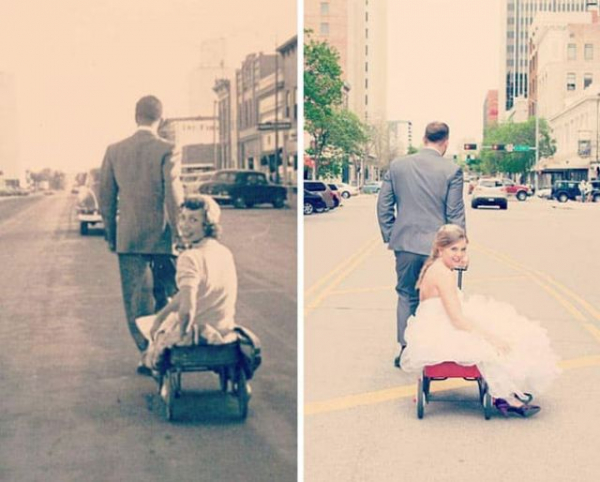 a couple recreated grandparents wedding photo from 1954