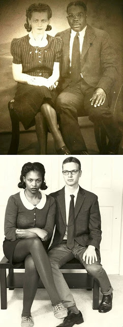 a couple tried to recreate a picture of the girls grandparents 2