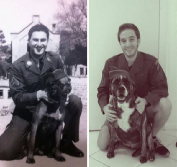 a grandfather and grandson 60 years apart