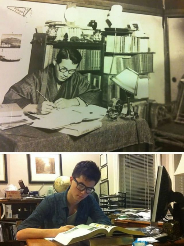 a guy recreating his favorite picture of his grandfather studying at hitotsubashi university