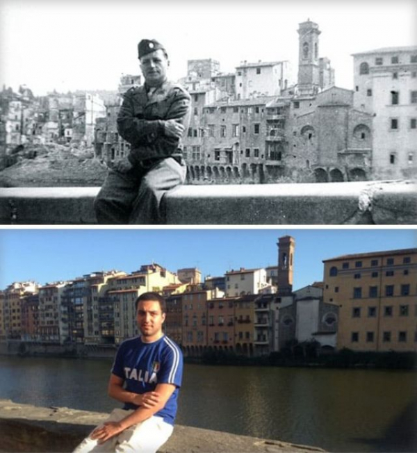 a guy sitting exactly where his grandfather sat in wwii 1944 2