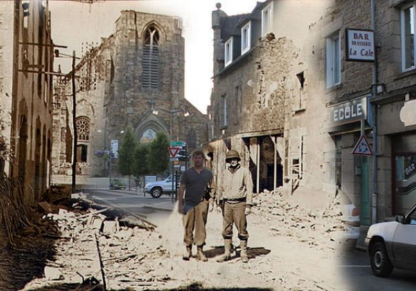 a man standing next to his grandfather on the streets of pleurtuit france in 1944 and 2013