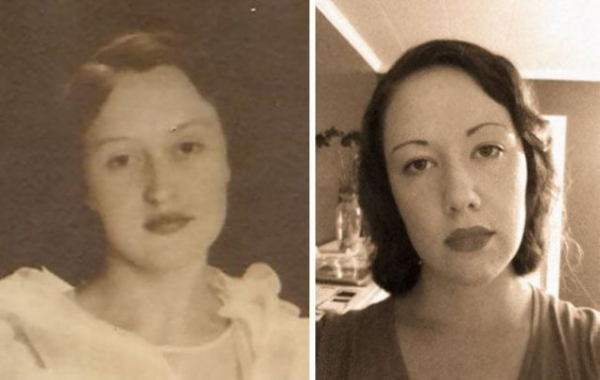 grandmother and granddaughter 80 years apart