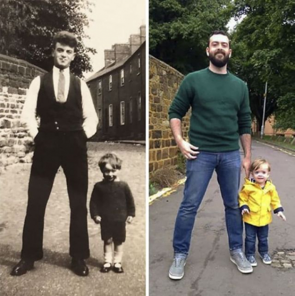 someones grandpa and son with their fathers 82 years apart