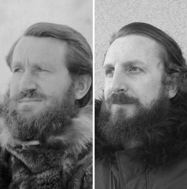 someones grandpa at east base antarctica 1940 and him last week