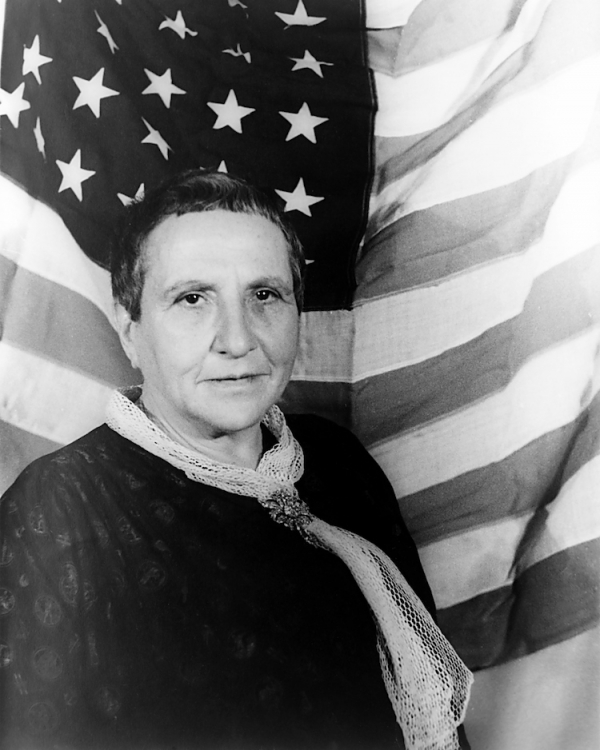carl van vetchen portrait of gertrude stein with american flag as backdrop 1935 photo library of congress via wikimedia commons public domain