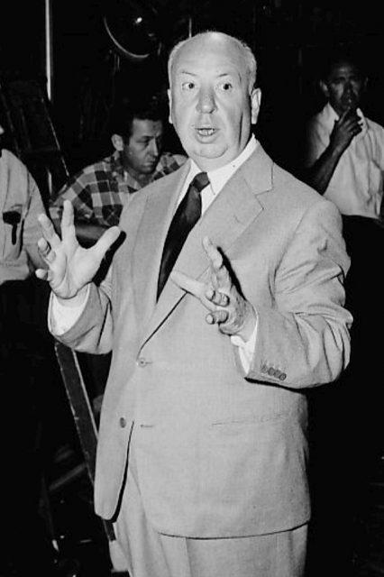 photo of alfred hitchcock on the set of his new television program alfred hitchcock presents 426x640