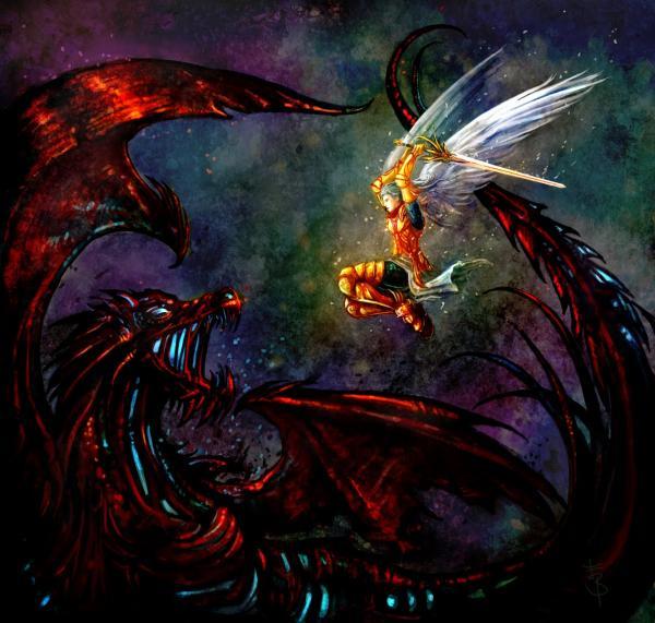 michael vs satan by isthar art