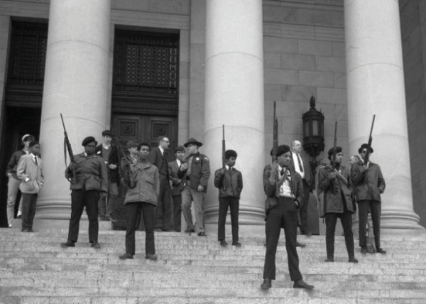 black panthers in protest at the california legislative assembly against the project requiring the disarmament of black people