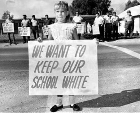 we want to keep our white school girl in a demonstration against the end of segregation in schools