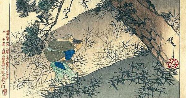 japanese print man carry woman ubasute