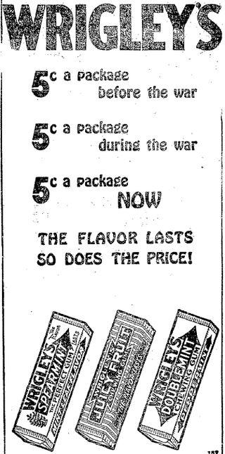 wrigleys gum 1920 ad
