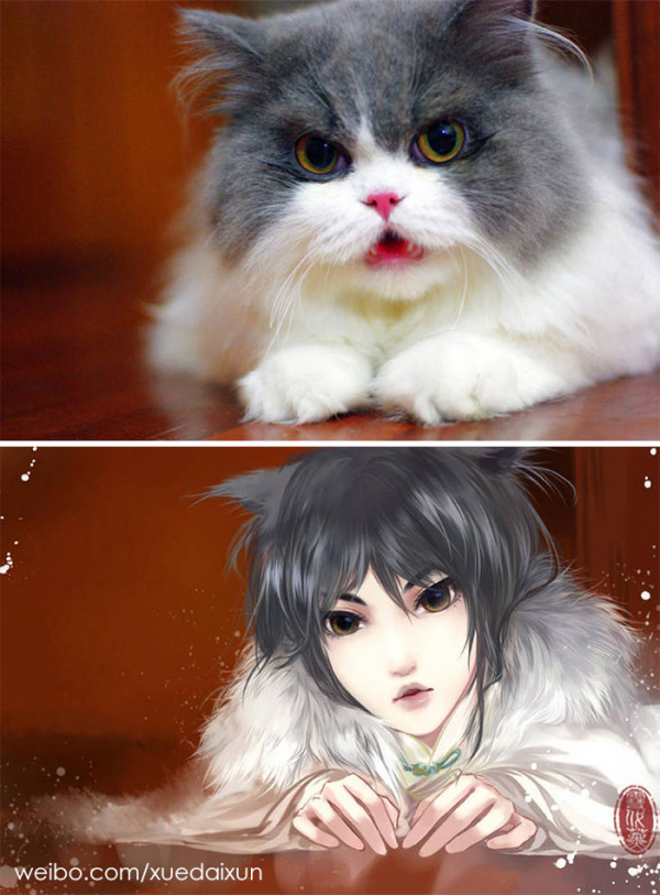 chinese artist creates human version of adorable kittens 5c1b55510c81b 700