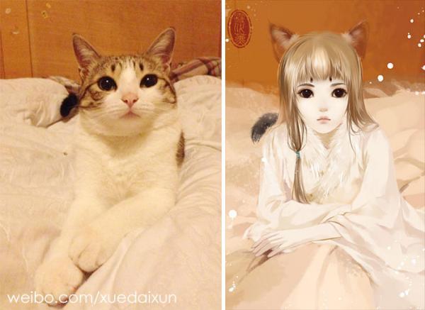 chinese artist creates human version of adorable kittens 5c1b5581357e2 700