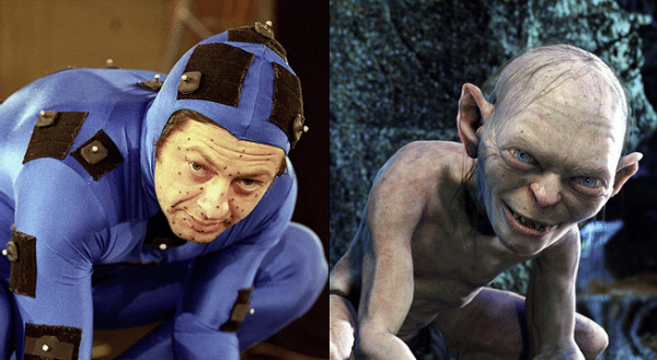 andy serkis poses in a moion capture suit during his performance of gollum during the