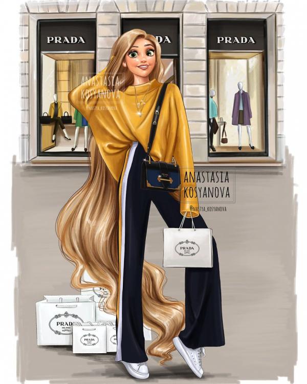russian artist turns disney princesses into modern fashionistas 5c3678f31055a 880