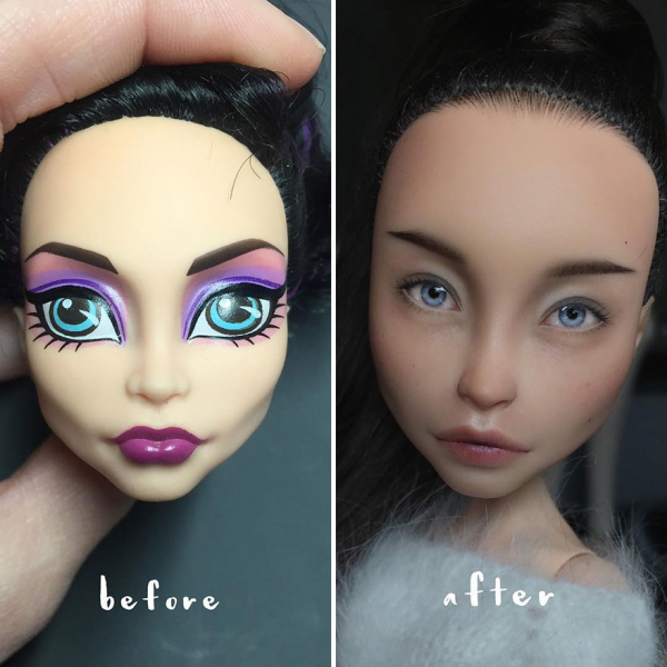 ukrainian artist continues to remove the makeup of dolls and re creates them with an incredibly real look 5c63e11231d1d 880
