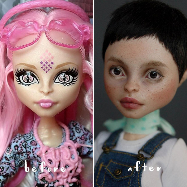 ukrainian artist continues to remove the makeup of dolls and re creates them with an incredibly real look 5c63e113ae0de 880